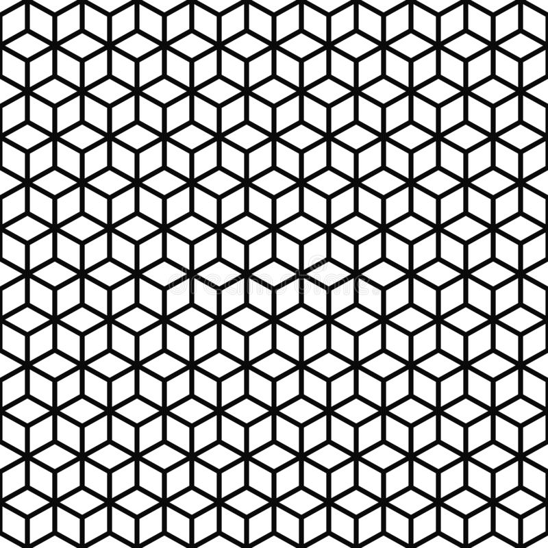 Vector seamless pattern. Cubes texture. Black-and-white background. Monochrome line cubic grid design. Vector EPS 10 royalty free illustration