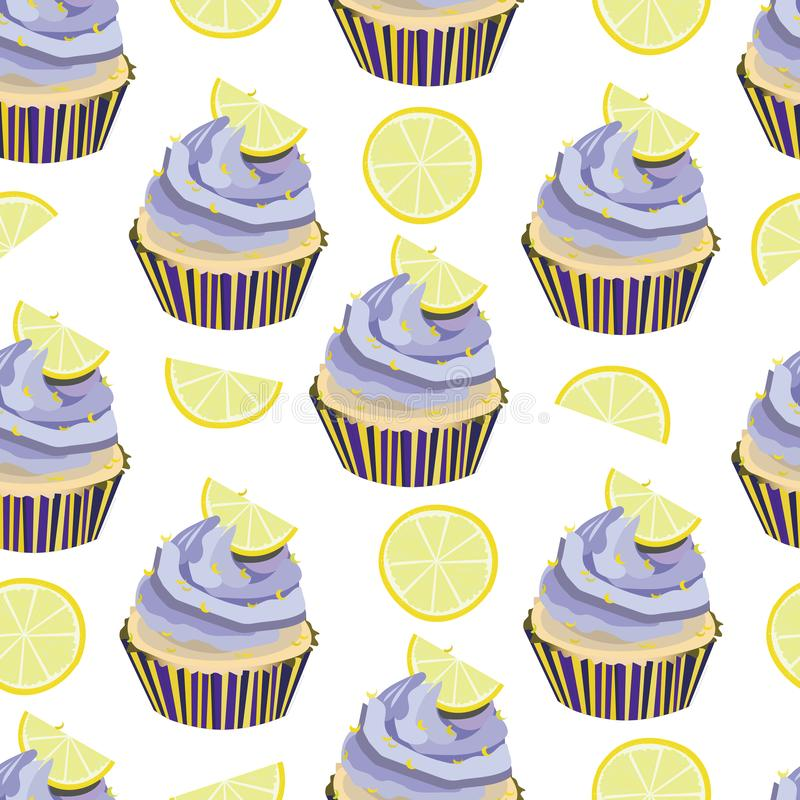 Vector seamless pattern with cupcakes, cakes, muffins. Desserts with lavander cream and lemon slices,pieces. Bakery print. Violet,. Yellow colors. Nice dessert royalty free illustration