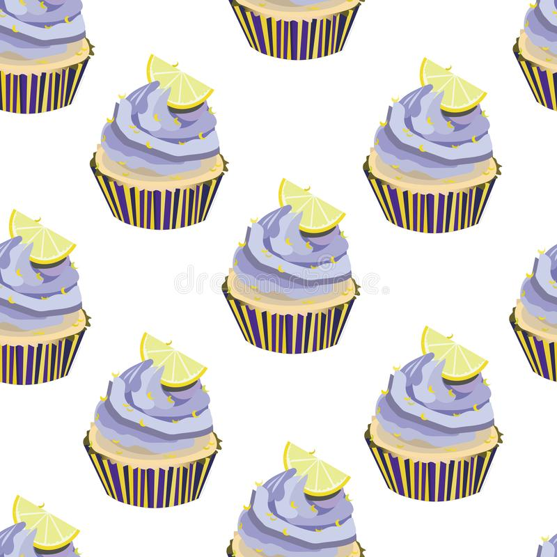 Vector seamless pattern with cupcakes, cakes, muffins. Desserts with lavander cream and lemon slices,pieces. Bakery print. Violet,. Yellow colors Soft yellow stock illustration