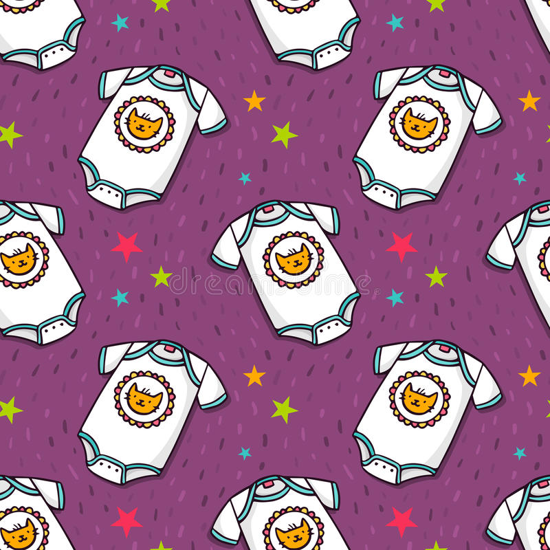 Vector seamless pattern with cute baby bodysuit stock illustration