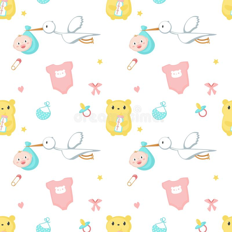 Baby shower vector seamless pattern with newborn items stock illustration