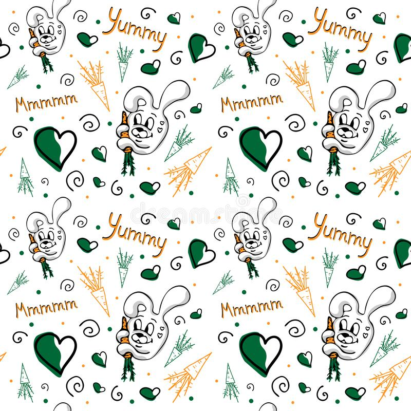 Vector seamless pattern with cute bunny, carrots, curls royalty free illustration