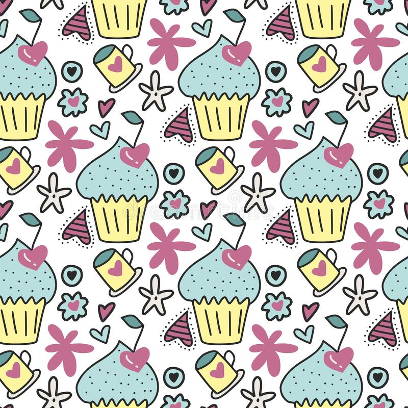 Vector seamless pattern with cute cakes, cherries in the form of hearts and flowers. royalty free illustration