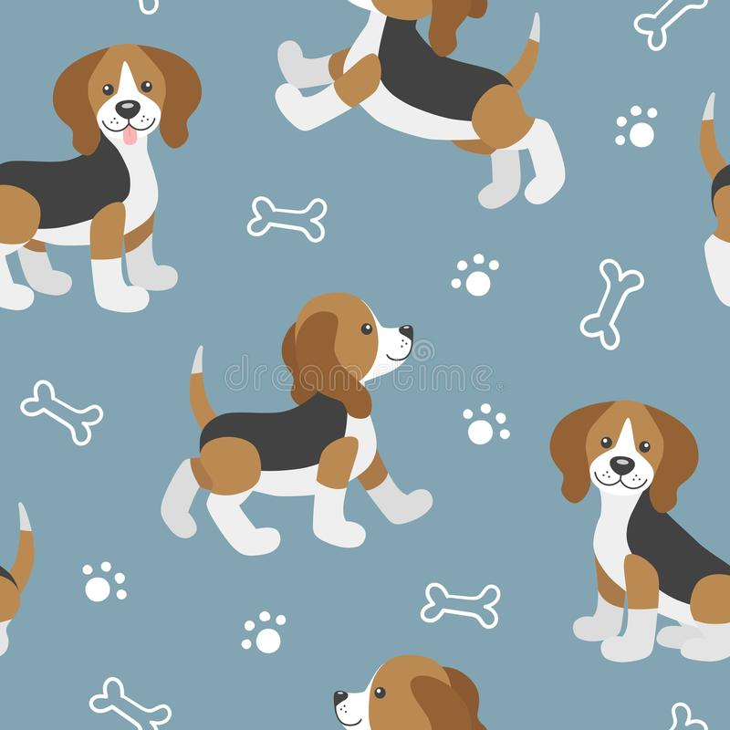 Vector seamless pattern with cute cartoon beagle baby. Vector seamless pattern with cute cartoon dog puppies.Beagle dog in different poses walk, jump, sit, stand vector illustration