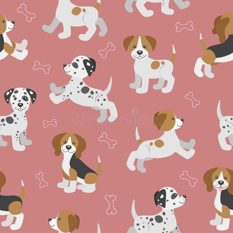 Vector seamless pattern with cute cartoon dog puppies stock illustration
