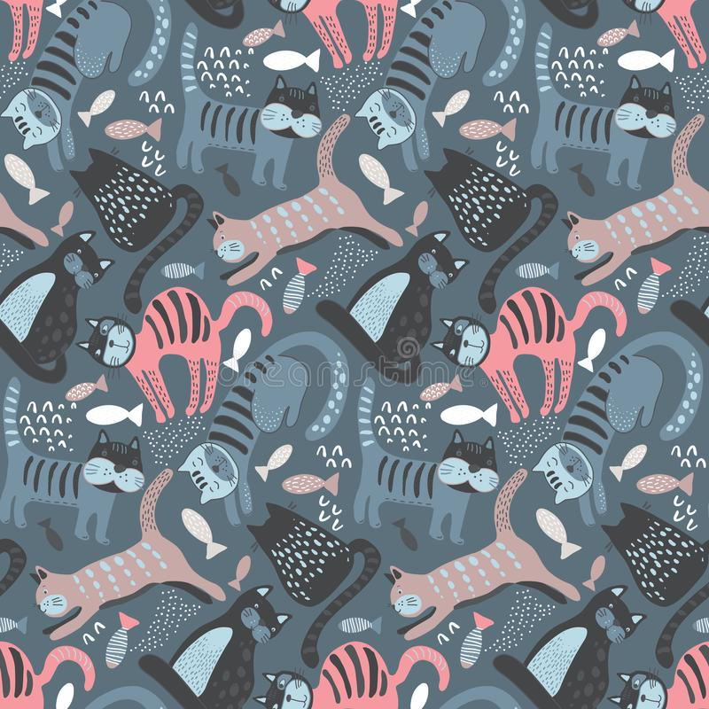 Vector seamless pattern with cute cats in simple flat style. vector illustration