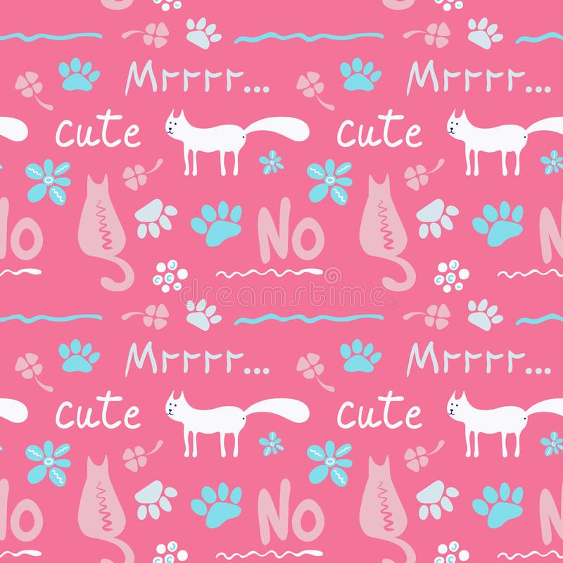 Vector seamless pattern with cute cats in soft color stock illustration