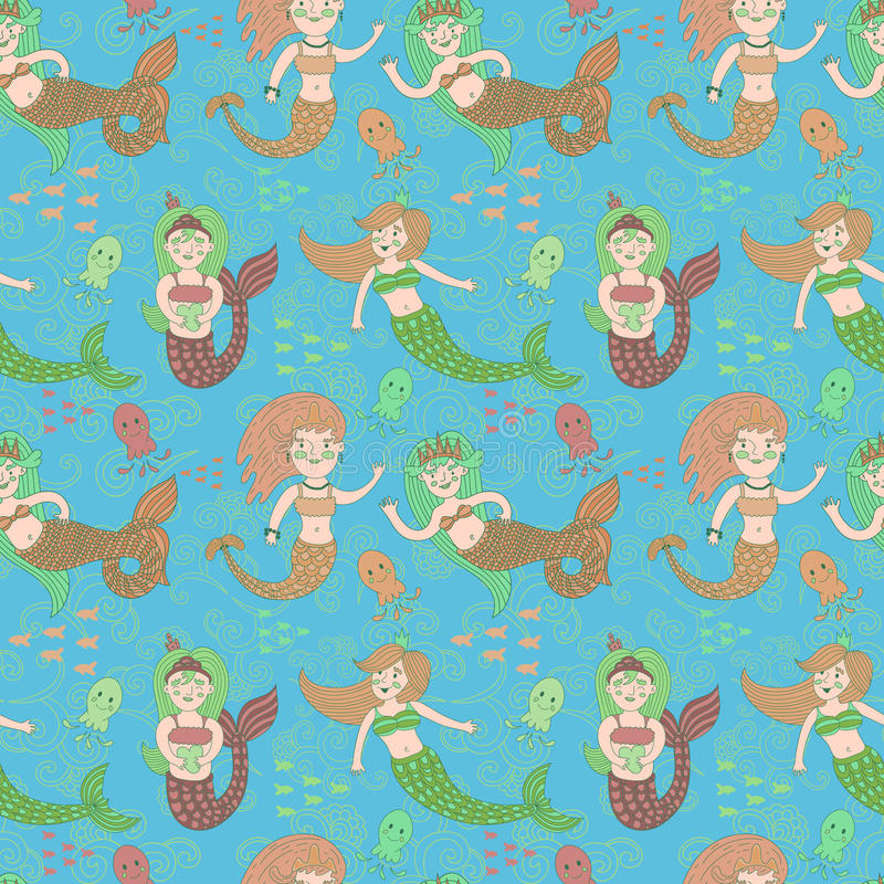 Vector seamless pattern with cute colorful mermaids. vector illustration