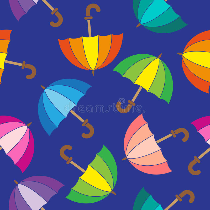 Vector seamless pattern. Cute colorful umbrellas. royalty free illustration