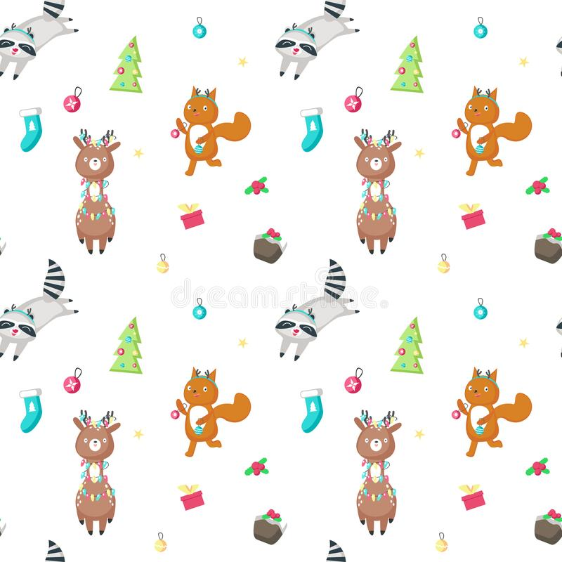 Vector seamless pattern with cute Christmas animals vector illustration