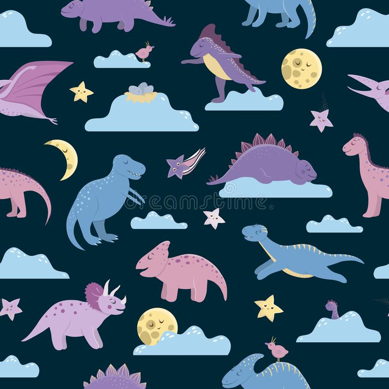 Vector seamless pattern with cute dinosaurs on night sky with clouds, moon, stars, birds for children. Dino flat cartoon royalty free illustration