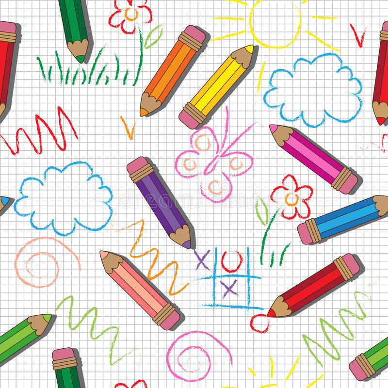 Vector seamless pattern. Cute drawings and pencils on a checkered Background. Cute drawings and pencils on a checkered Background stock illustration