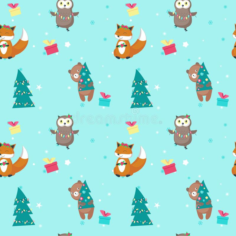 Vector seamless pattern with cute Christmas animals royalty free illustration