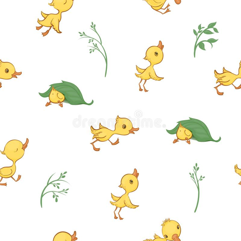 Vector seamless pattern with cute funny yellow cartoon ducklings and green plants. royalty free illustration