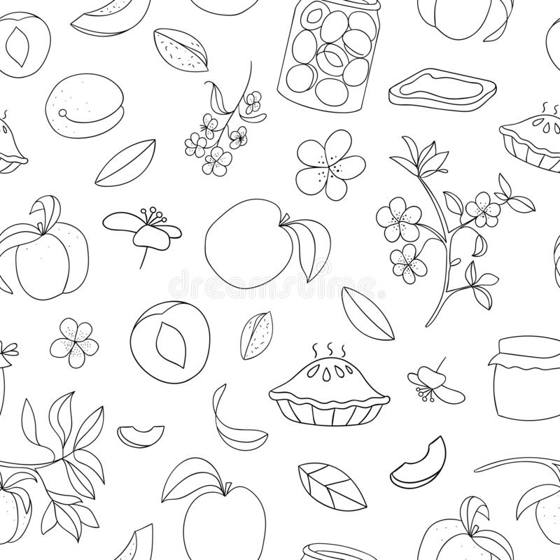 Vector seamless pattern of cute hand-drawn apricots, pie, flowers, jam jar. Black and white repeat background. Home made food stock illustration