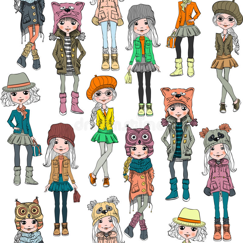 Vector seamless pattern with cute hipster girl stock images