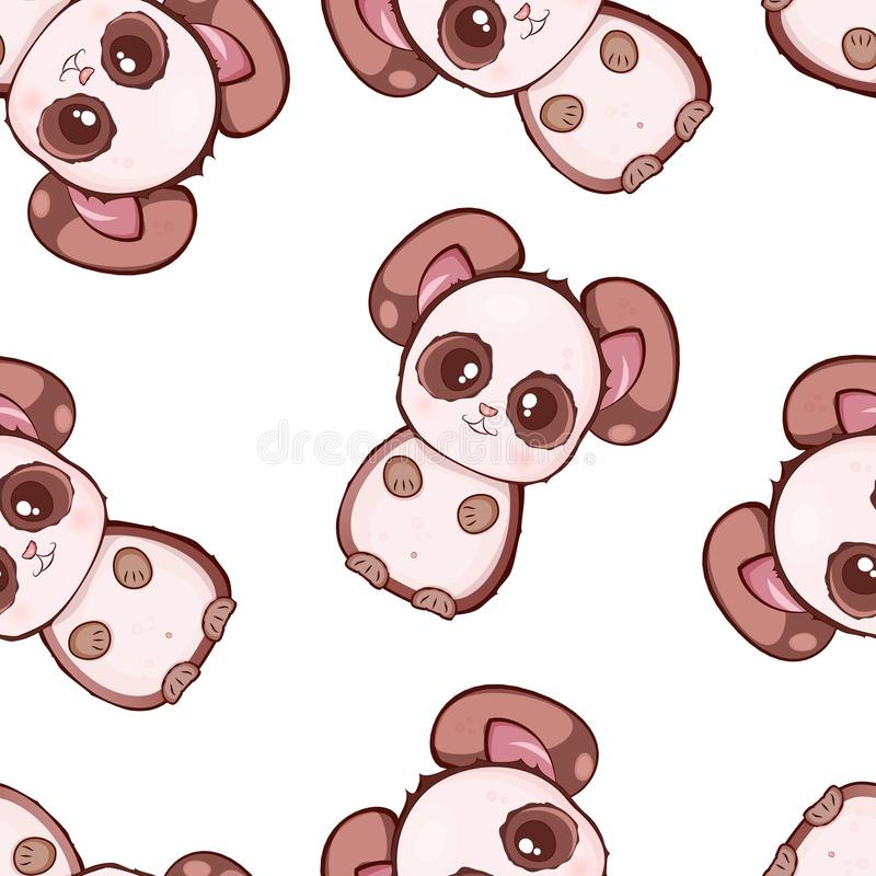 Vector seamless pattern with cute kawaii pandas. Baby style. Print for clothes and wrappers vector illustration