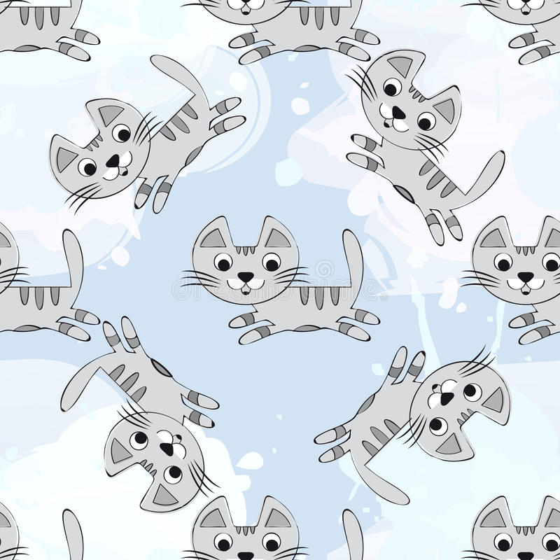 Vector seamless pattern with cute kittens on a blue background. Baby for fabric, paper, interior design or clothing stock illustration