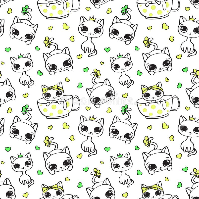 Vector seamless pattern with cute kittens on white background. vector illustration