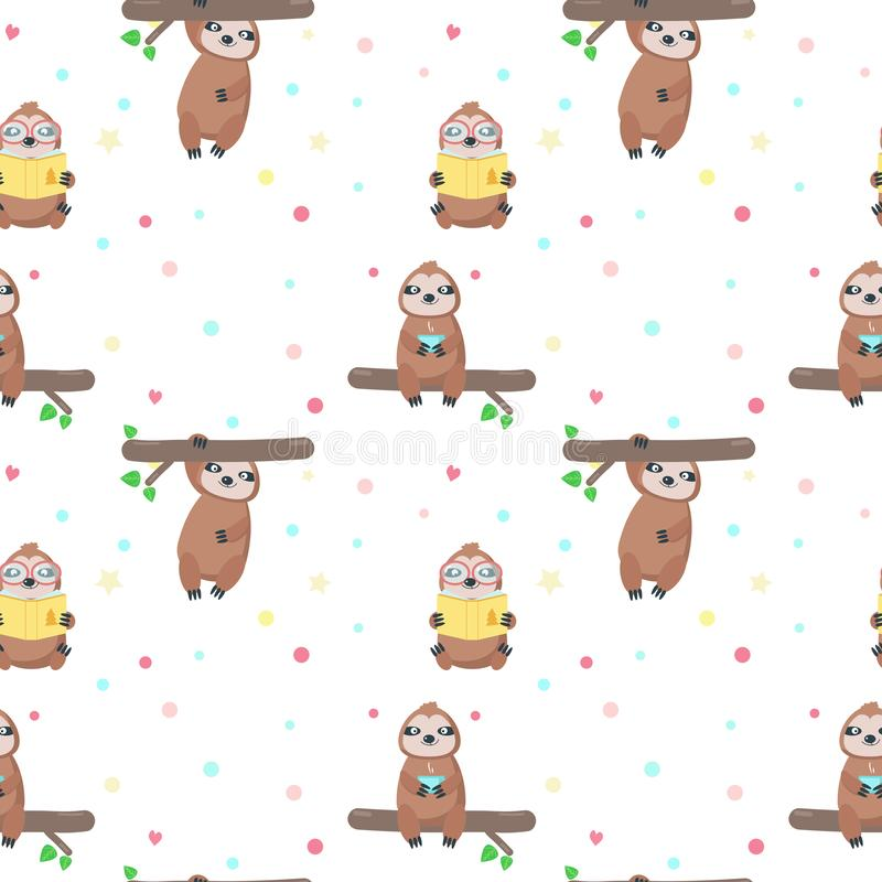Vector seamless pattern with cute lazy sloths. Vector seamless pattern with cute sloths hanging down from tree branch, reading book, drinking tea. Lazy jungle royalty free illustration