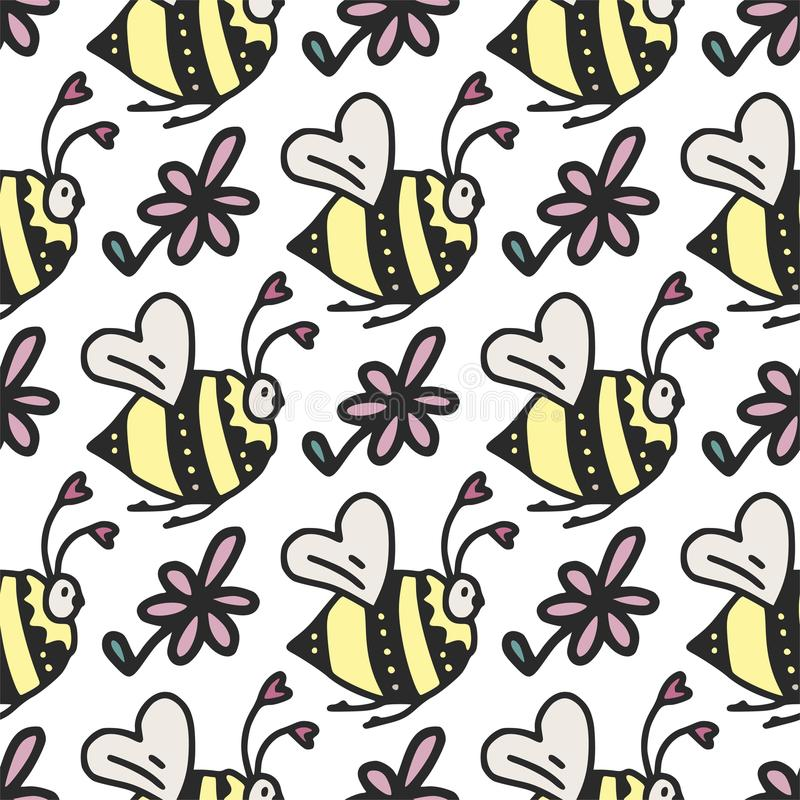 Vector seamless pattern with cute little bees, hearts and flowers. vector illustration