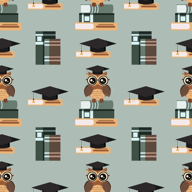 Vector seamless pattern with cute owl in eyeglasses with graduation cap sitting on a stack of books and books royalty free illustration