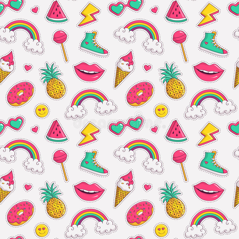 Vector seamless pattern with cute patches. stock illustration