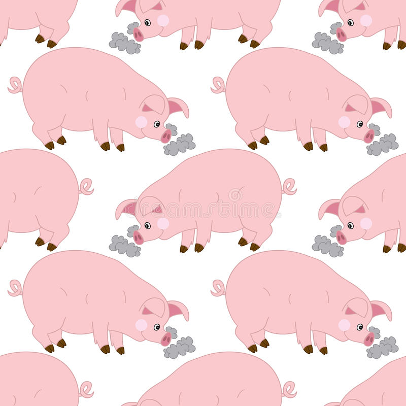 Vector Seamless Pattern with Cute Pigs. Vector Baby Pig. Pig Seamless Pattern Vector Illustration. vector illustration