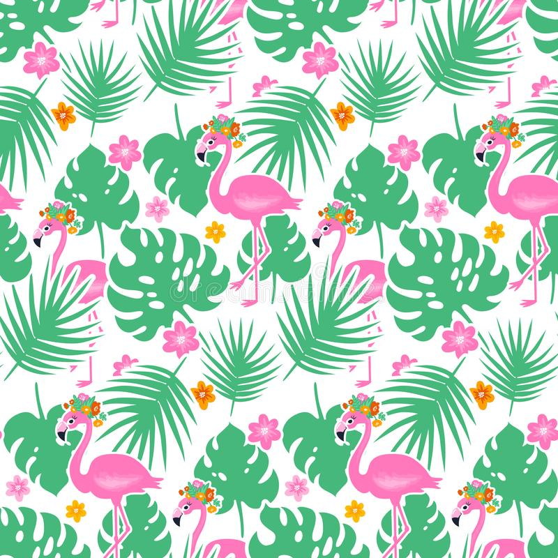 Vector seamless pattern with cute pink flamingo and tropical leaves. Summer exotic background. Colorful Design for fabric, wrapping paper and decor. Vector vector illustration
