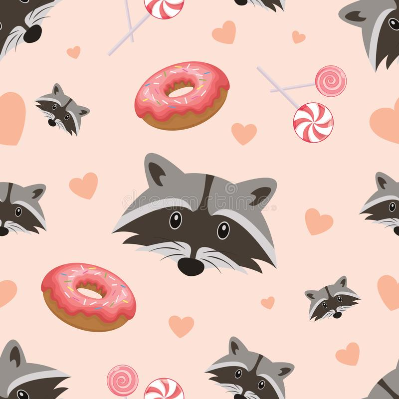 Vector seamless pattern with cute raccoon, donuts and lollipops on a pink background. Vector. royalty free stock photo