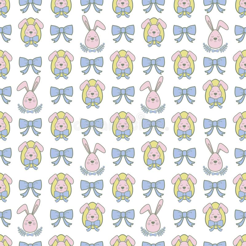 Vector seamless pattern with cute retro icons for Easter design. Easter background. vector illustration