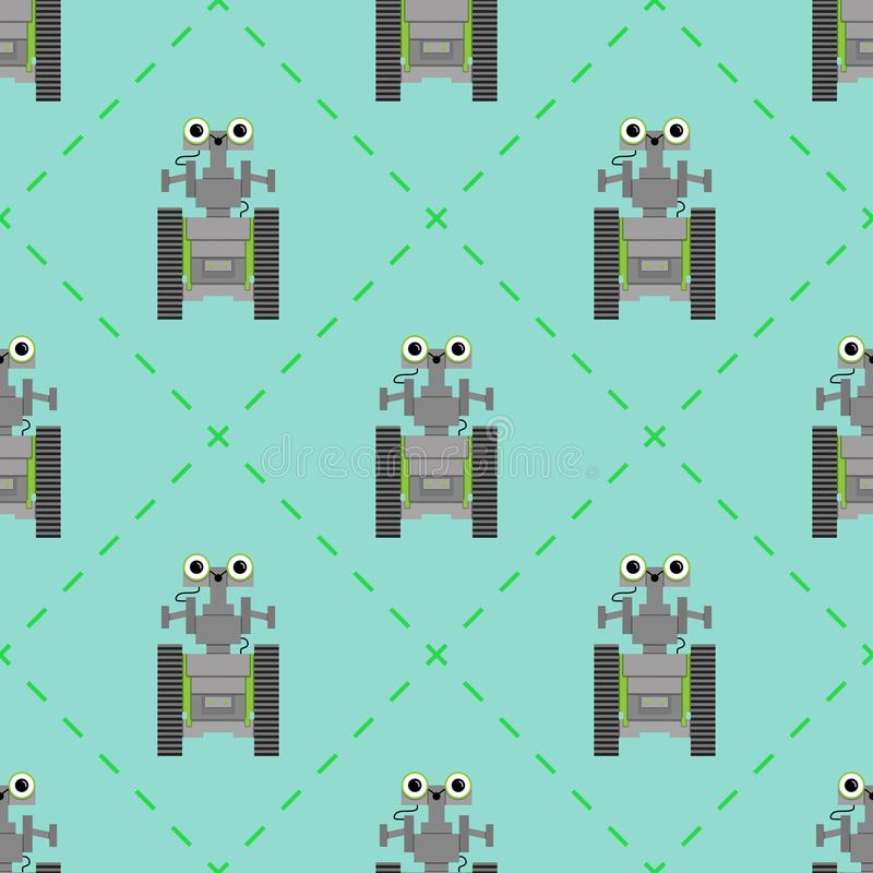 Vector seamless pattern with cute robots. stock illustration