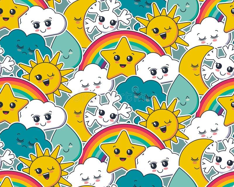 Vector seamless pattern with cute smiling sun, moon, star, rainbow, cloud, snowflake, rain drop faces stock illustration