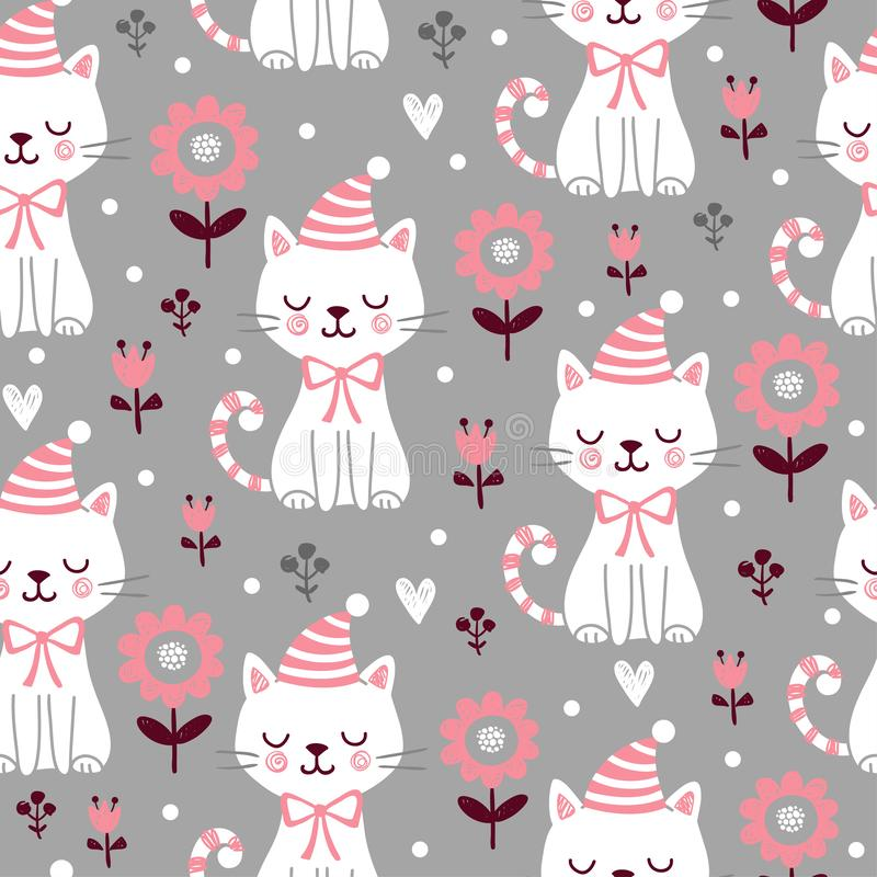 Vector seamless pattern with cute squinted kittens in Christmas caps on a gray background royalty free illustration