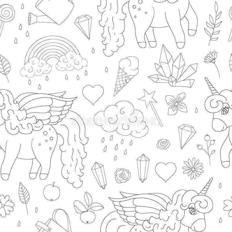 Vector seamless pattern of cute unicorns, rainbow, clouds, crystals, hearts, flowers outlines. stock illustration