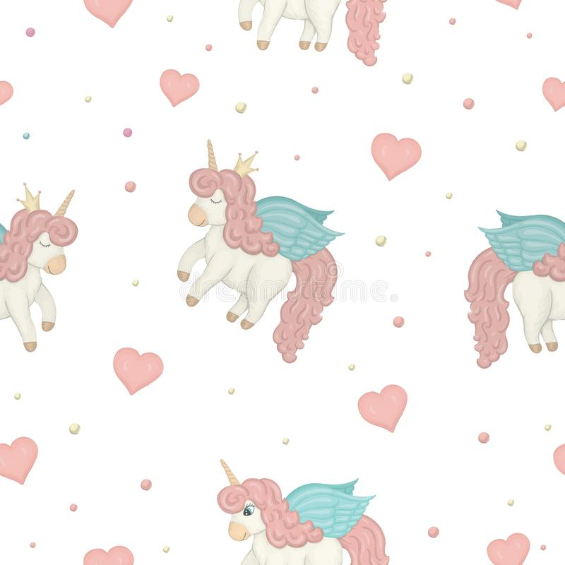 Vector seamless pattern with cute watercolor style unicorns, colored circles and hearts. vector illustration