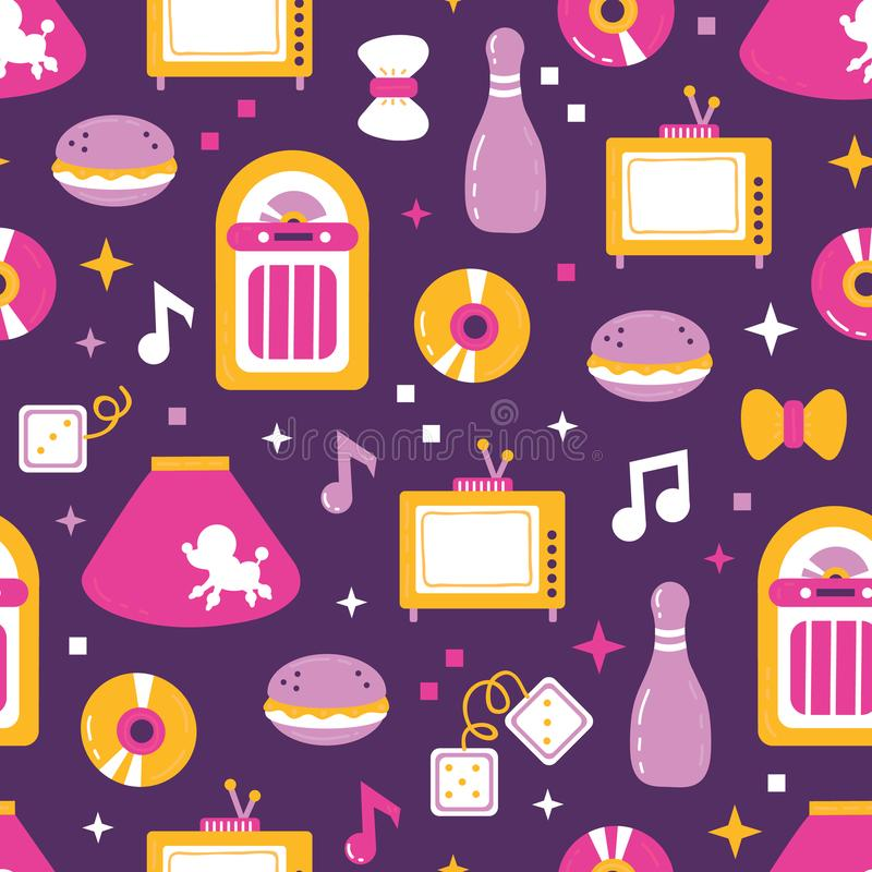 Sock hop 1950. Vector seamless pattern with dancer profession with object sock hop from 1950 year royalty free illustration