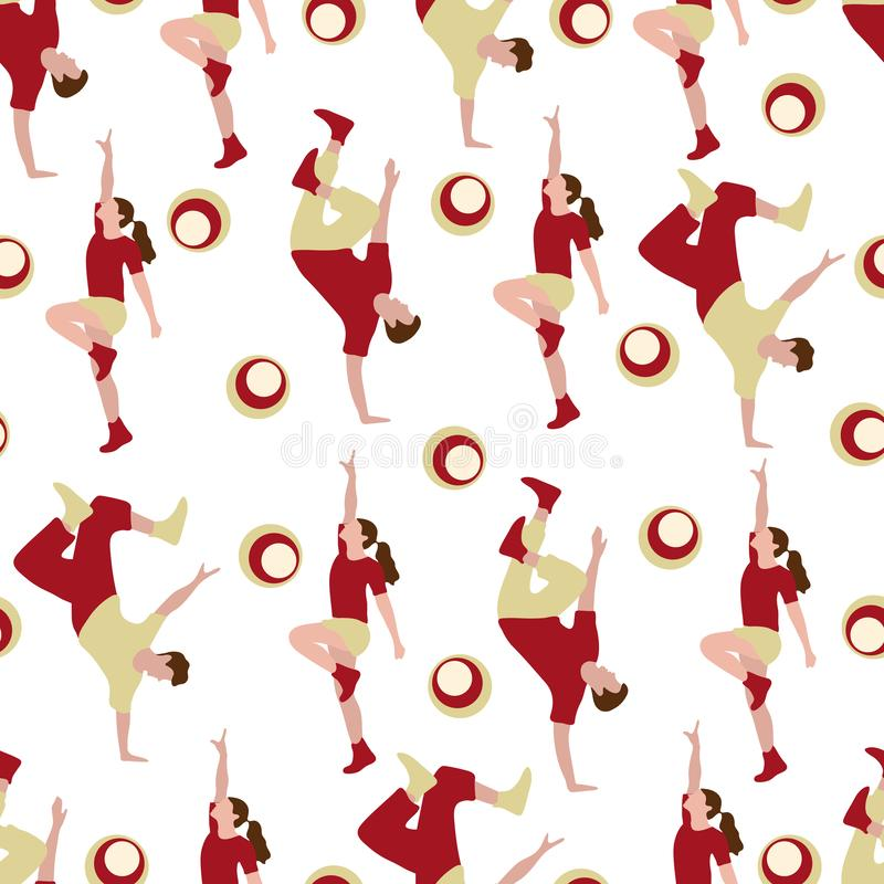 Vector seamless pattern with dancing people. Dance party, competition. Street modern dance. Design for textile, banner, poster or print vector illustration