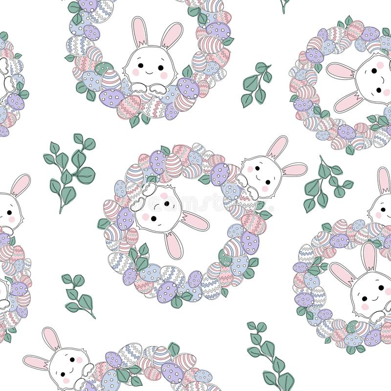 Vector seamless pattern with decorative eggs, Easter wreath and bunnies. royalty free illustration