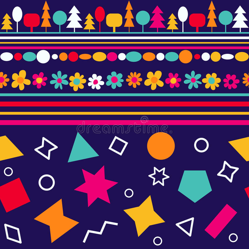 Vector seamless pattern with decorative flowers and geometric figures. Colorful baby wallpaper stock illustration