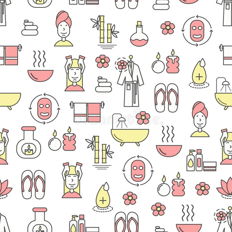Vector flat line art spa and beauty seamless pattern royalty free illustration