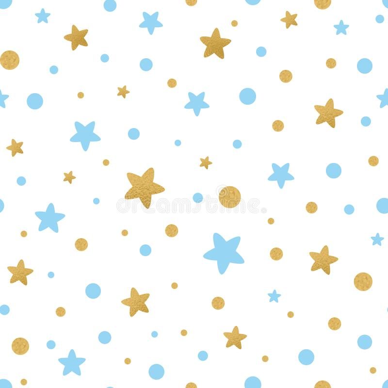 Vector seamless pattern decoreted gold blue stars for Christmas backgound, birthday baby shower textile. Light seamless pattern decorated hold blue stars on royalty free illustration