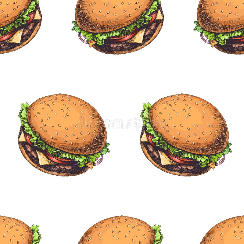 Vector seamless pattern with delicious burgers isolated stock illustration