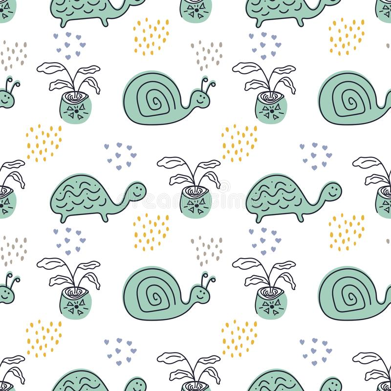 Vector seamless pattern design for kids. Isolated turtles, snails and plants on a white background.  royalty free illustration