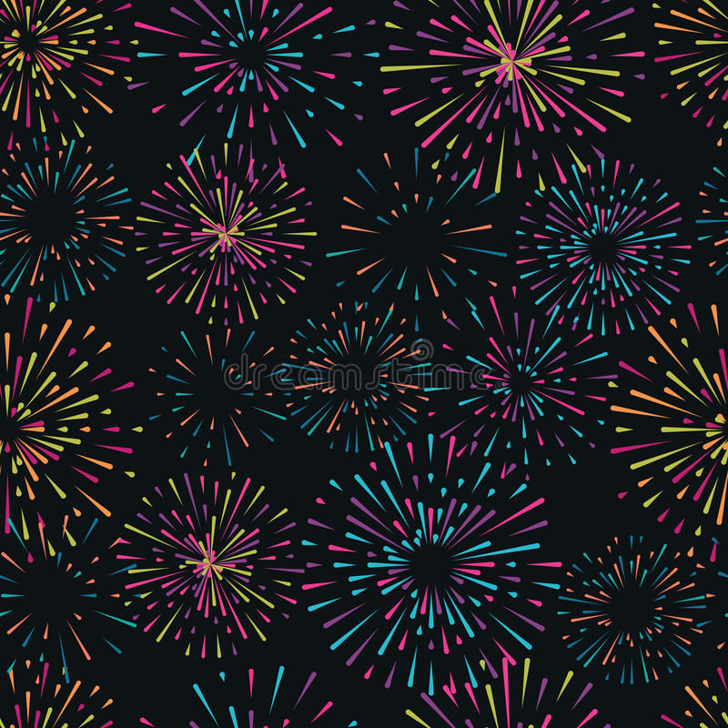 Vector seamless pattern with different colorful fireworks. On dark background vector illustration