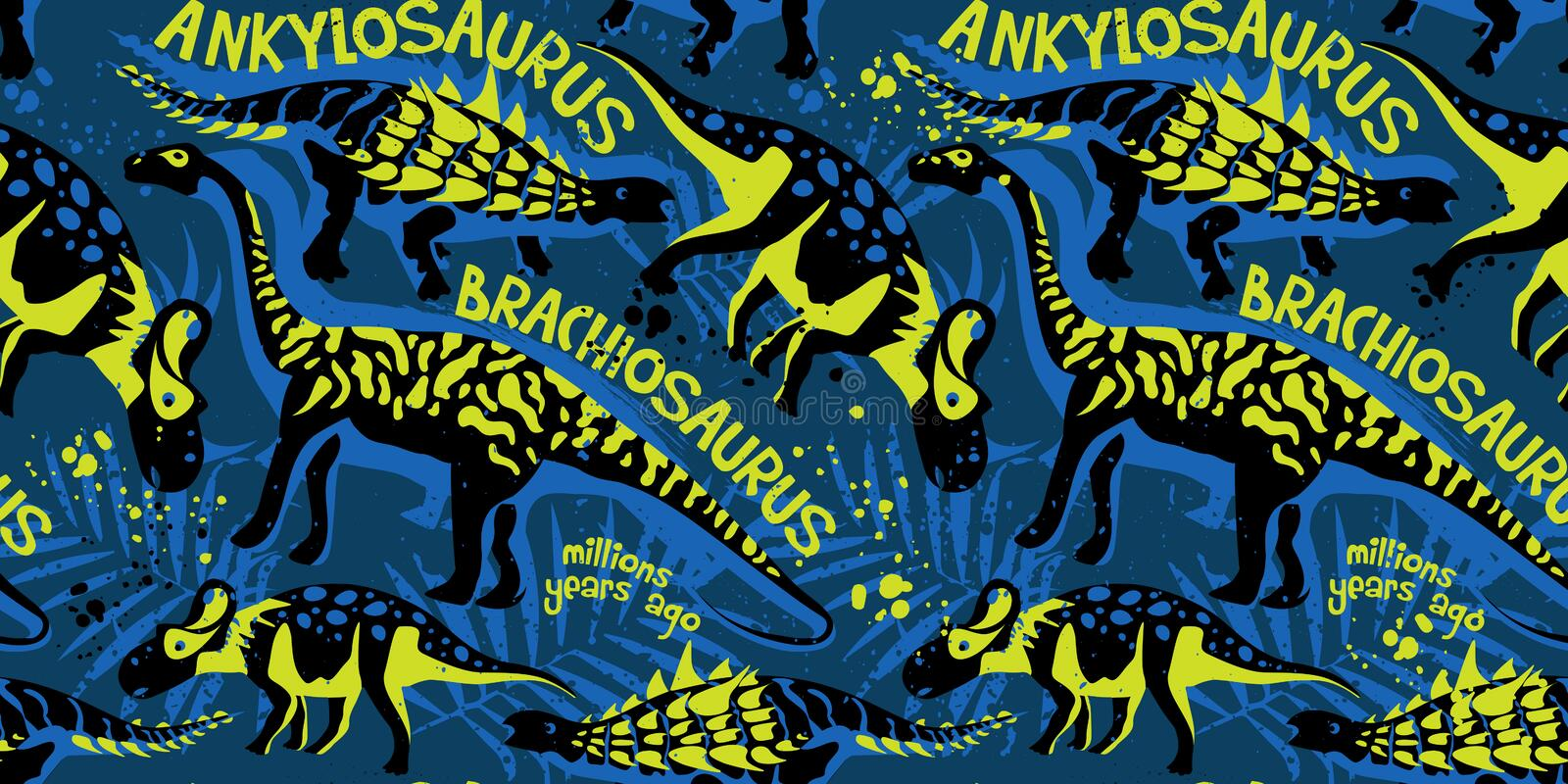Vector seamless pattern with dinosaurs royalty free illustration