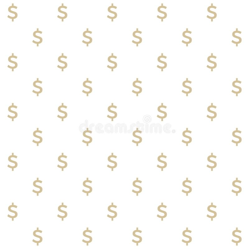 Vector seamless pattern of dollars sign, clean and simple vector illustration