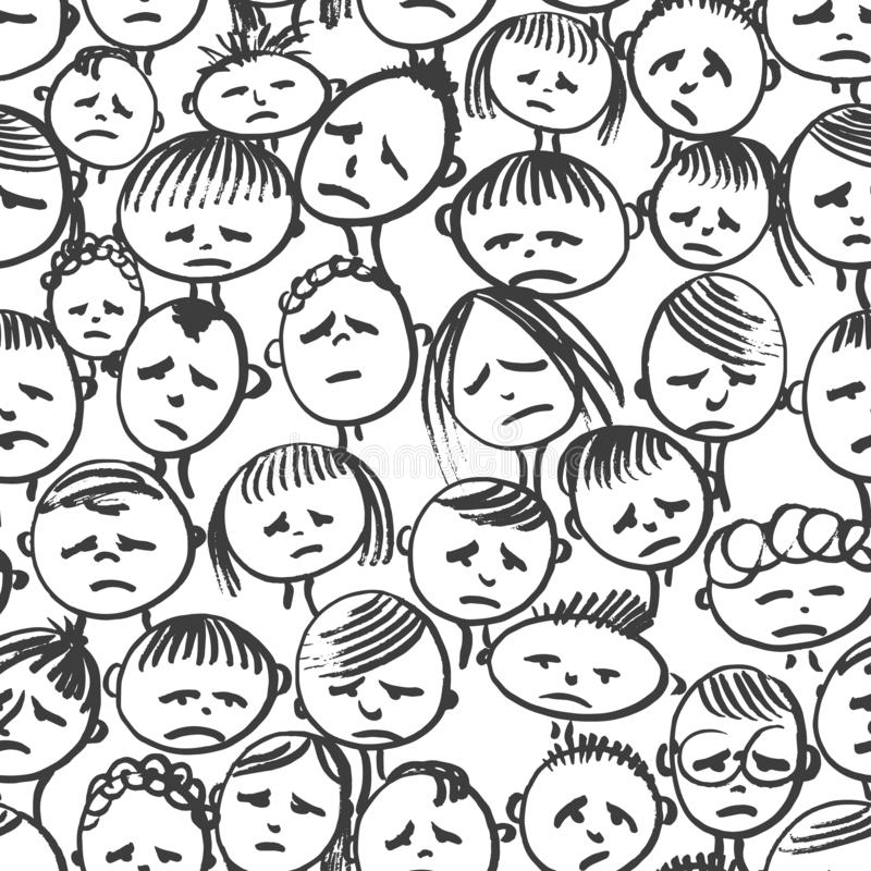 Vector seamless pattern. Doodle. Face in stress vector illustration