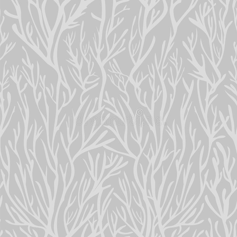 Vector seamless pattern. Doodle organic shapes. Stylish structure of corals or naked branches. Hand drawn abstract background. stock illustration