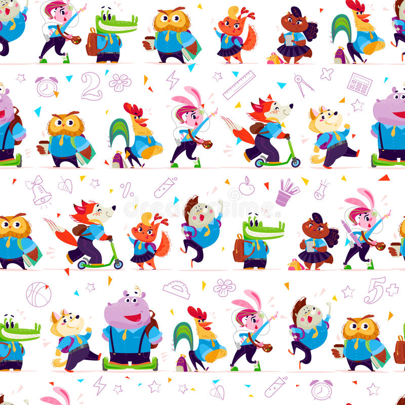 Vector seamless pattern with doodle school object icons and funny cartoon animal students isolated on white background. Line art. Good for banner, packaging royalty free illustration